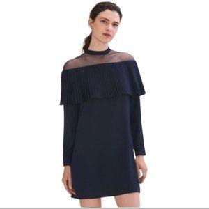 Maje Remia Pleated Overlay Black Mini Dress